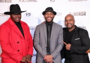 Producer Vanda Lee, director JR Strickland, and cinematographer Anthony Kimata attend the premiere of 'A-Minor' at Raleigh Studios in Hollywood.