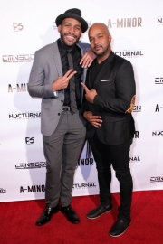 Director JR Strickland and cinematographer Anthony Kimata attend the premiere of 'A-Minor' at Raleigh Studios in Hollywood.