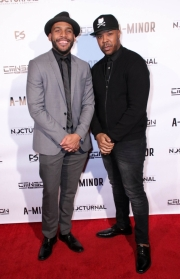 Director JR Strickland and Jesty Beatz attend the premiere of 'A-Minor' at Raleigh Studios in Hollywood.