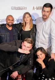 Nikesh Patel, Courtney Faltemeier, David Faltemeier, Tobias Winde Harbo and Sophia Harbo attend the premiere of 'A-Minor' at Raleigh Studios in Hollywood.