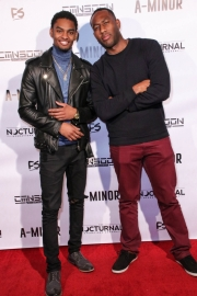 Sylvester Richardson and guest attend the premiere of 'A-Minor' at Raleigh Studios in Hollywood.