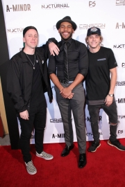 Ben Hagarty, director JR Strickland, and Cal Scruby attend the premiere of 'A-Minor' at Raleigh Studios in Hollywood.