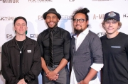Ben Hagarty, director JR Strickland, Kawika Banis, and Cal Scruby attend the premiere of 'A-Minor' at Raleigh Studios in Hollywood.