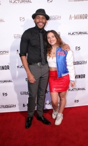 Director JR Strickland and Roxana Baldovin attend the premiere of 'A-Minor' at Raleigh Studios in Hollywood.