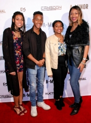 TayLore Reliford, RJ Reliford, TaMya Reliford, and LaTonya Reliford attend the premiere of 'A-Minor' at Raleigh Studios in Hollywood.