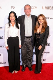 Sharon Faltemeier, Jim Faltemeier, and associate producer Sarah Giovanna Faltemeier attend the premiere of 'A-Minor' at Raleigh Studios in Hollywood.