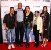 RJ Reliford, Jerry Strickland, LaTonya Reliford, TaMya Reliford, and TayLore Reliford attend the premiere of 'A-Minor' at Raleigh Studios in Hollywood.