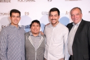 Jacob Faltemeier, Matt Faltemeier, and David Faltemeier, and Jim Faltemeier attend the premiere of 'A-Minor' at Raleigh Studios in Hollywood.