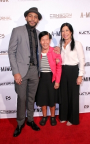 Director JR Strickland, Po Po, and Sharon Faltemeier attend the premiere of 'A-Minor' at Raleigh Studios in Hollywood.
