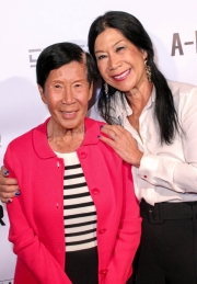 Po Po and Sharon Faltemeier attend the premiere of 'A-Minor' at Raleigh Studios in Hollywood.