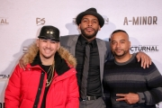 Mike Ho, JR Strickland, and Jessy Terrero attend the premiere of 'A-Minor' at Raleigh Studios in Hollywood.