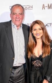 Jim Faltemeier and associate producer Sarah Giovanna Faltemeier attend the premiere of 'A-Minor' at Raleigh Studios in Hollywood.