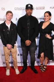 Josh Stoa, Jesty Beatz, and Natalie Lizarraga attend the premiere of 'A-Minor' at Raleigh Studios in Hollywood.