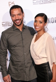 Tarina Pouncy and guest attend the premiere of 'A-Minor' at Raleigh Studios in Hollywood.
