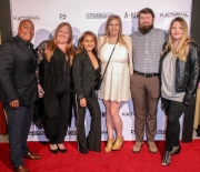 Josue Morales, Tiffany Brenon, associate producer Sarah Giovanna Faltemeier, Alison Yedor, Max Yedor, and Emma Sofia Pohja attend the premiere of 'A-Minor' at Raleigh Studios in Hollywood.