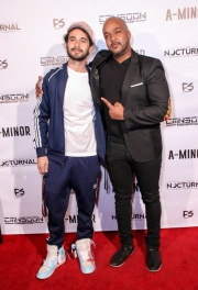 Cinematographer Anthony Kimata and Jordan Brodie attend the premiere of 'A-Minor' at Raleigh Studios in Hollywood.