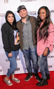 Julio Mata Jr. and guests attend the premiere of 'A-Minor' at Raleigh Studios in Hollywood.