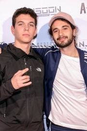 Jordan Brodie and guest attend the premiere of 'A-Minor' at Raleigh Studios in Hollywood.