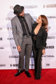 Director JR Strickland and associate producer Sarah Giovanna Faltemeier attend the premiere of 'A-Minor' at Raleigh Studios in Hollywood.