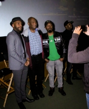 Director JR Strickland, Jerry Strickland, and Young Tez attend the premiere of 'A-Minor' at Raleigh Studios in Hollywood.