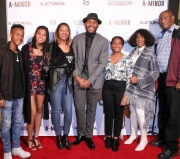 RJ Reliford, TayLore Reliford, LaTonya Reliford, director JR Strickland, TaMya Reliford, Evelyn Strickland, and Jerry Strickland attend the premiere of 'A-Minor' at Raleigh Studios in Hollywood.