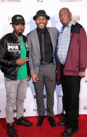 Young Tez, director JR Strickland, and Jerry Strickland attend the premiere of 'A-Minor' at Raleigh Studios in Hollywood.