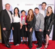 Associate producer Sarah Giovanna Faltemeier and the Faltemeier family attend the premiere of 'A-Minor' at Raleigh Studios in Hollywood.